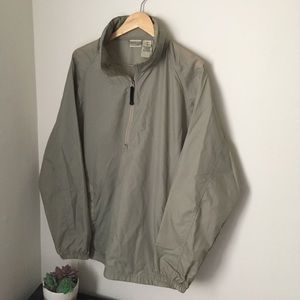 Brown ll bean pullover windbreaker jacket